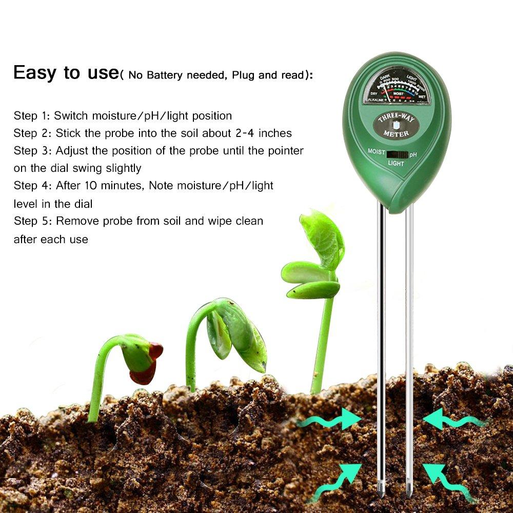 Marge Plus Soil Moisture Meter, 3 in 1 Soil Test Kit Gardening Tools for PH, Light & Moisture, Plant Tester for Home, Farm, Lawn, Indoor & Outdoor (No Battery Needed)