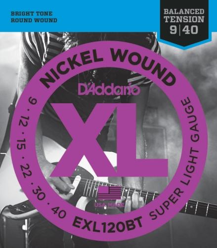 D'Addario Exl120Bt Nickel Wound Electric Guitar Strings, Balanced Tension Super Light, 9-40