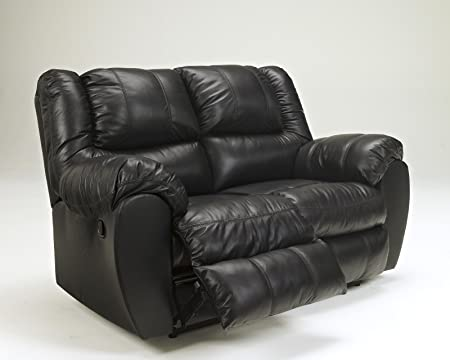 Ashley McAdams Leather Power Reclining Loveseat in Black