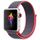 INTENY Sport Band Compatible with Apple Watch 44mm, Soft Lightweight Breathable Nylon Sport Loop, Strap Replacement for iWatch Series 4 (Electric Pink, 44mm) (Color: Electric Pink, Tamaño: 44 mm)