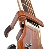 Rinastore 6-String Acoustic & Electric Guitar Capo- Single Handed Capo, Rosewood Color (Color: MA-12-D)