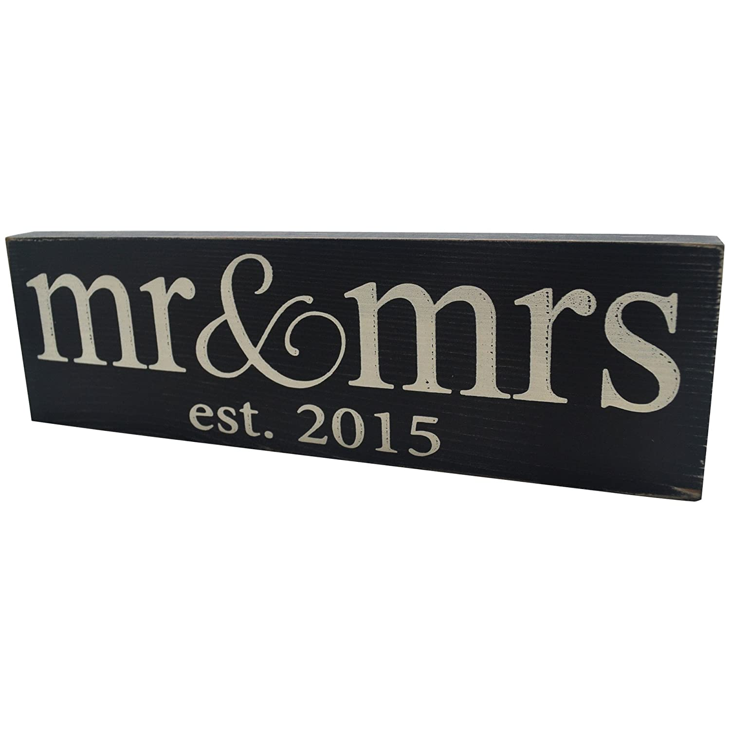 1 X Mr & Mrs Est. 2015 Vintage Wood Sign for Wedding Decoration, Prop, Gift or Wall Decor — PERFECT WEDDING GIFT!