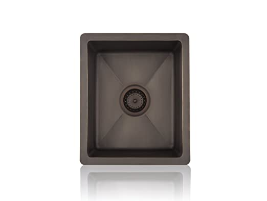 Lenova CK-200 Copper Prep Square Topmount/Undermount Kitchen Sink, Small, Oil Rubbed Bronze Finish
