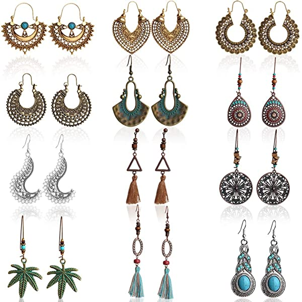 Outee 12 Pairs Vintage Dangle Earrings Bohemian National Style Earrings Hollow Water Drop Heart Shaped Alloy Long Boho Dangle Earrings Fashion Pendant Jewellery Gifts for Women Girls (Color: Vintage Dangle Earrings)