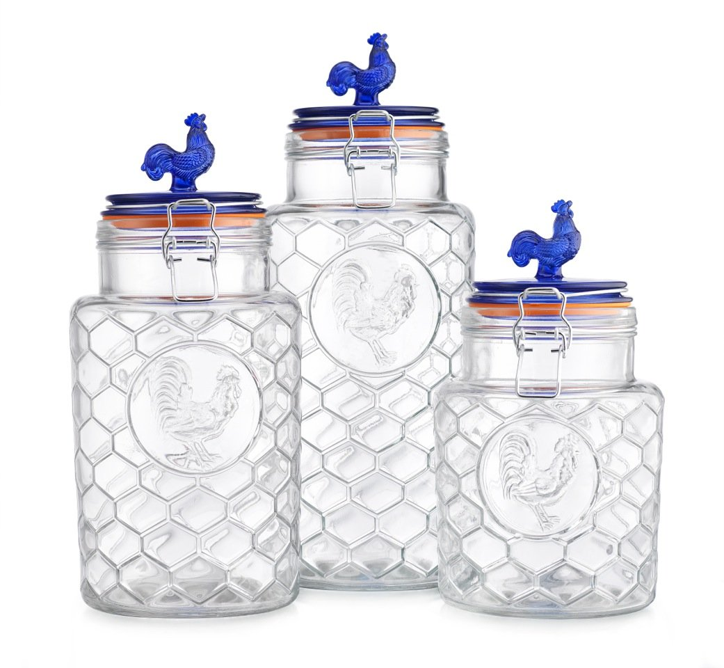 Country Kitchen Rooster Canisters Set of Three (3) Round Clear Glass Hermetic Sealed Airtight with Locking Clamps ~ Kitchen Jars Set with Blue Lid Embossed Rooster ~ Food Storage Containers (Blue Top)