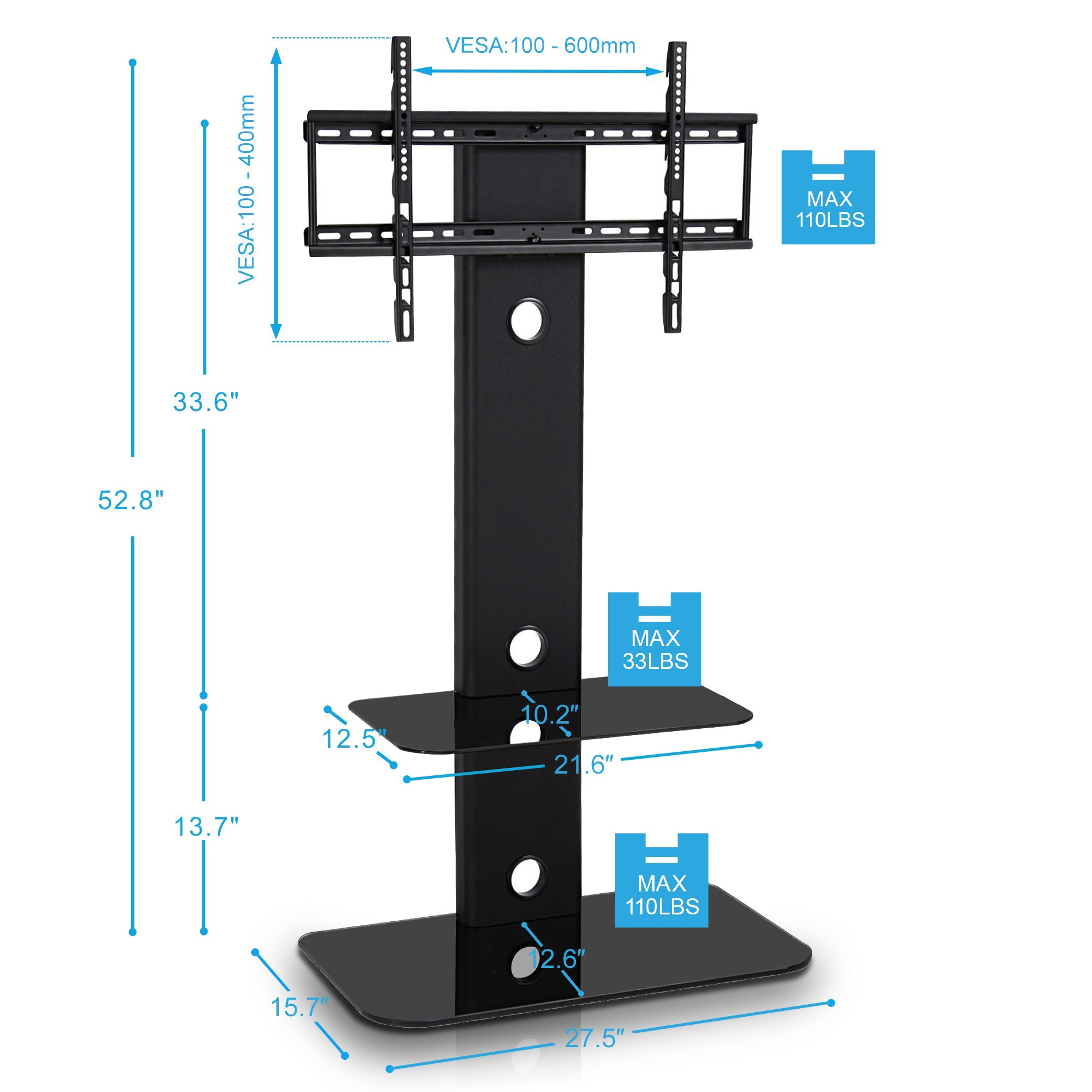 fitueyes floor tv stand with mount swivel for 32 60 inches tv ebay. Black Bedroom Furniture Sets. Home Design Ideas