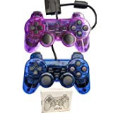 Saloke 2 Pack Wired Gaming Console for Ps2 Double Shock (Clear Purple and Clear Blue) (Color: Clear Purple and Clear Blue)