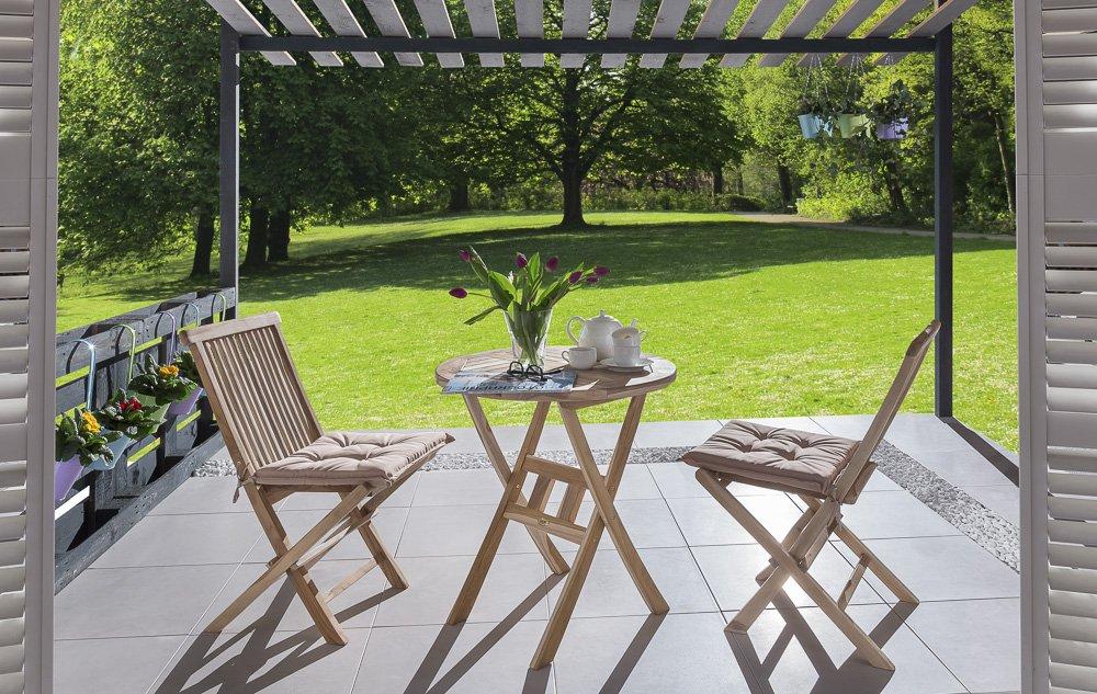 SAM® Teak Holz Balkongruppe, Gartengruppe, Gartenmöbel, 3tlg., Rondo, klappbar, 2 x Klappstuhl, 1 x Tisch jetzt kaufen