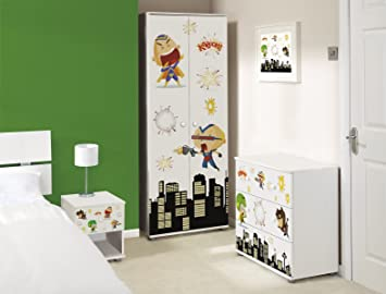 Mini Super Heroes Design Childrens/Kids White Bedroom Furniture Set