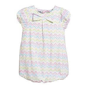 Rockin' Baby Girls Multi Color Zig Zag Print Bow Jersey Mia Dress 6-9M
