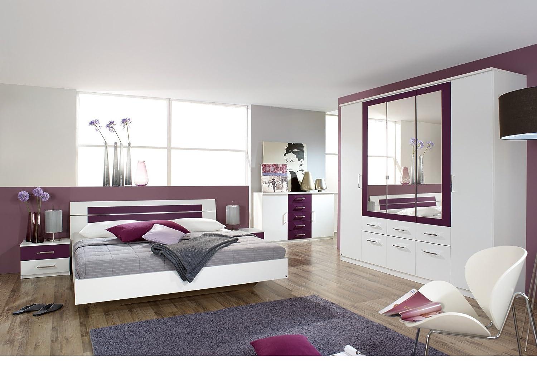 Schlafzimmer Kompletttset inkl. Kommode in Alpinweiss / Brombeer jetzt bestellen