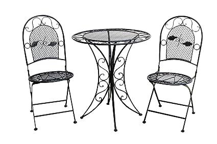 Muebles de jardín mesa de jardín dos sillas metal negro hierro estilo antiguo