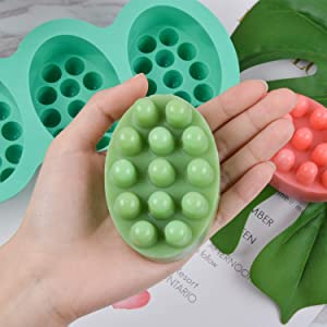 2 Pcs Silicone Massage Bar Soap Molds - SJ Silicone Molds for Soaps Making, Handmade Soap Molds, Nonstick & BPA Free (Blue & Mint Green) (Color: massage molds, Tamaño: Massage molds)