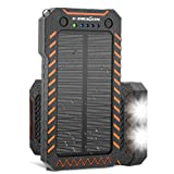 X-DRAGON Solar Charger, 10000mAh Solar Power Bank with Dual USB, 4 Solar Panels, LED Flashlight Solar Phone Charger for iPhone, Cell Phone, Samsung, ipad, Outdoor, Camping and More-Green (Color: ORANGE)