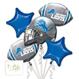 Andaz Press Balloon Bouquet Party Kit with Gold Cards & Gifts Sign, Lions Football Themed Foil Mylar Balloon Decorations, 1-Set (Color: Sports Lions)