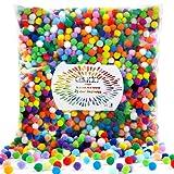Caydo 2000 Pieces 1 cm Pompoms 20 Color Arts and Crafts Pom Poms Ball for DIY Creative Crafts Decorations