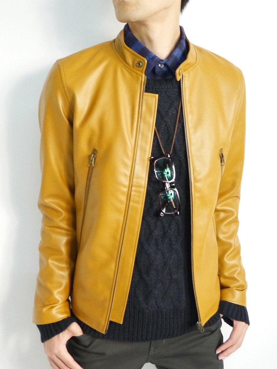 (モノマート) MONO-MART リアル 本革 レザー ライダースジャケット カラー 革ジャン シングル メンズ