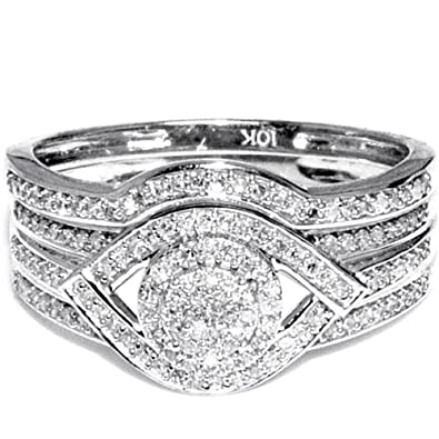 Midwest Jewellery Women's 1/3Cttw Diamond Wedding Ring Set 10K White Gold 11Mm Wide (I/J Color 0.33Cttw)