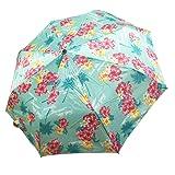 Lilac Mini Compact Travel Umbrella, Manual Open Close Windproof Waterproof Cute Umbrellas with Tropical Flower (Color: Multicoloured)