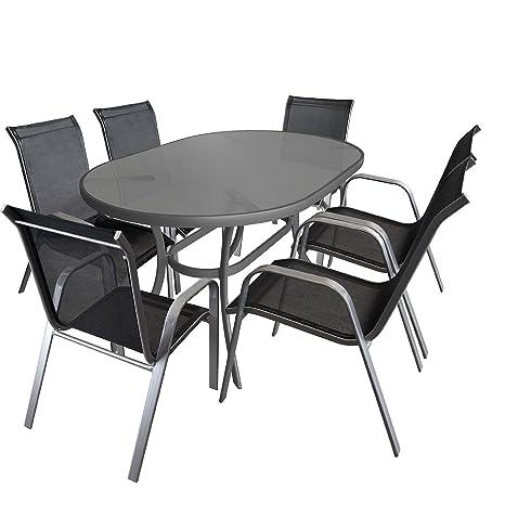 7tlg. Gartengarnitur Sitzgruppe Glastisch 140x90cm oval Terrassenmöbel Aluminium Alu Stapelstuhl Textilen Sitzgarnitur