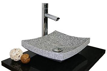 Waschbecken Aus Naturstein Granit Model Dublin35 Weiss Grau