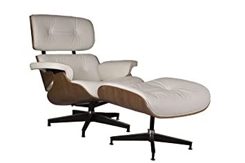 Home Elements Eames Inspired Lounge Chair and Leather Ottoman, White