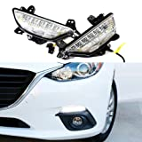 iJDMTOY Exact OEM Fit 22-LED High Power Switchback LED Daytime Running Lights/Turn Signal Lamps For 2014-2016 Mazda 3 Axela, White/Amber