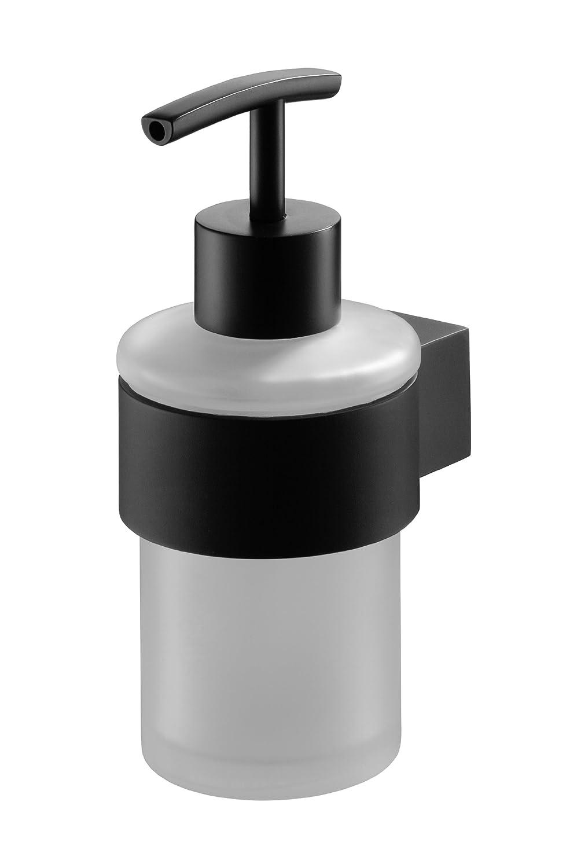 seifenspender aus mattiertem glas lotionspender schwarz oder chrom ebay. Black Bedroom Furniture Sets. Home Design Ideas