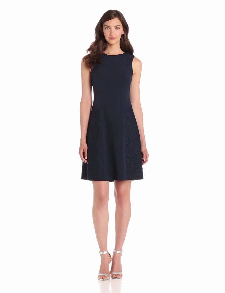 Adrianna Papell Womens Lace Combo Flare Dress, Navy, 8