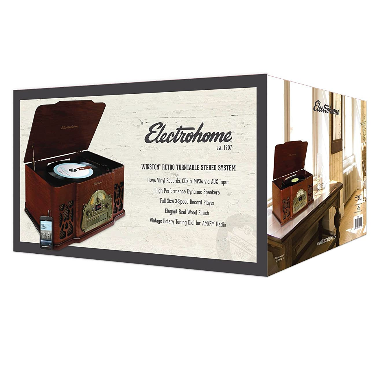 Electrohome EANOS501 Winston Vinyl Turntable 3-in-1 Wooden Stereo System 5