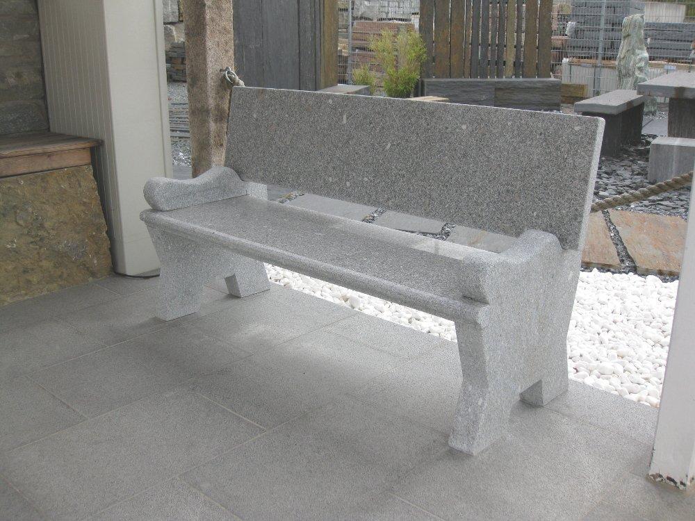 Bank aus echtem Naturstein, Bank aus Granit, Bank mit Armlehnen, Bank aus Stein, handgearbeitet