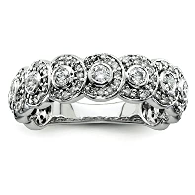 Sterling Silver Rough Diamond Wedding Band Ring - Ring Size Options Range: L to P