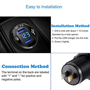 ZYTC Waterproof QC3.0 Car Charger USB Outlet Socket 12V//24V Blue LED Digital Voltmeter with On//Off Switch for Car Boat Motorcycle Marine