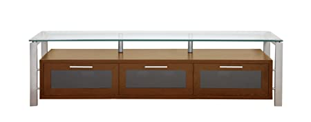 PLATEAU DECOR 71 WS Wood and Glass TV Stand, 71-Inch, Walnut Finish