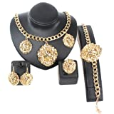 Gold/Silver Tone 3pcs Lion Face Iced Out Pendant Necklace Bracelet Earrings Ring Jewelry Sets (Gold)