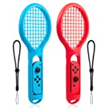 Kanical Tennis Racket for Nintendo Switch - Twin Pack Tennis Racket for Joy-Con Controllers for Mario Tennis Aces Game (Color: Blue+red)