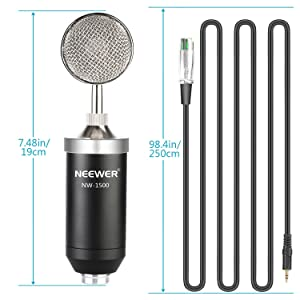 Neewer NW-1500 Professional Studio Condenser Microphone Kit with USB Sound Card, Shock Mount, Mic Suspension Scissor Arm Stand, Pop Filter for Compute