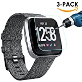Kimilar [3-Pack] Fitbit Versa Screen Protector, Waterproof Tempered Glass Screen Protector for Fitbit Versa Smartwatch, [9H Hardness] [Crystal Clear] [Scratch Resist] [No-Bubble] (Color: 3Pcs for Fitbit Versa)