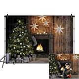 Mehofoto Christmas Interiors Vinyl Photography Backdrop Christmas Tree Studio Family Photoshoot Background 7x5 Merry Christmas Photo Holiday Photo Background for Newborn Baby Children Kids (Color: Xmas and Wood-Style 4, Tamaño: 7x5ft)