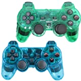 Saloke Wireless Gaming Controller for Ps2 Double Shock (ClearBlue and ClearGreen) (Color: ClearBlue and ClearGreen)