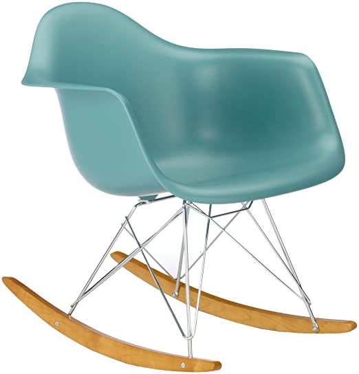 Vitra 4401130021 RAR Eames Plastic Armchair Rocking chair Chrome Frame Ocean