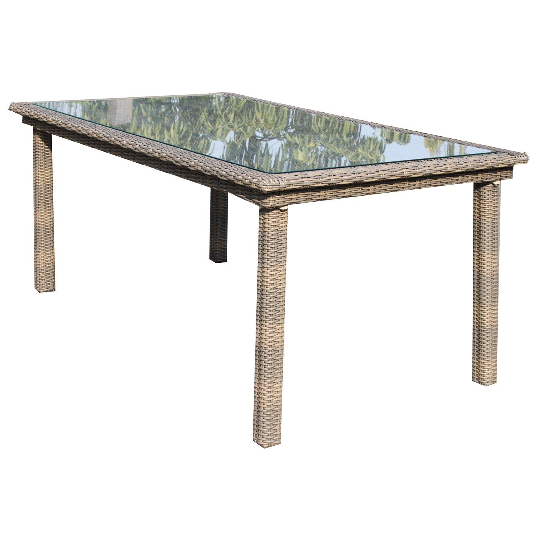 Ambientehome Polyrattan Tisch inkl. Glasplatte Esstisch Mombasa, beige, ca. 170 x 95 cm