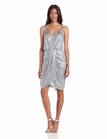 Adrianna Papell Women's Short Draped Dress, Silver, 4