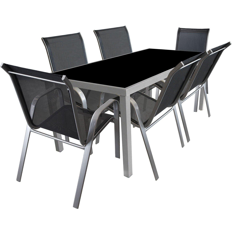 7tlg. Garnitur Glastisch 180x90cm Stapelstuhl Textilenbespannung Gartengarnitur Terrassenmöbel Sitzgruppe Sitzgarnitur günstig bestellen