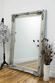 Carved Louis Silver Antique Style Large Leaner Mirror 124 x 185