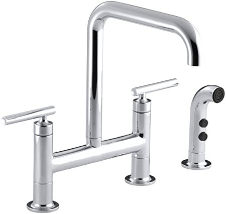 KOHLER K-7548-4-CP Purist Deck-Mount Bridge Faucet with Sidespray, Polished Chrome