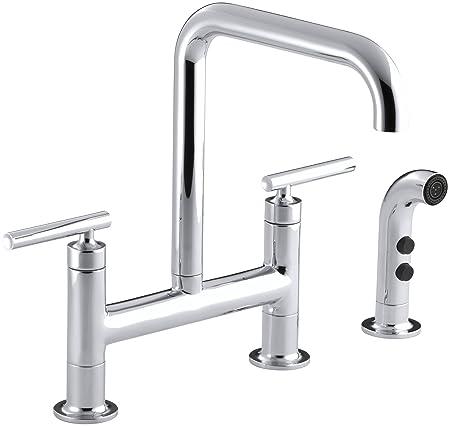KOHLER K-7548-4-CP Purist Deck-Mount Bridge Faucet with Sidespray, Polished Chrome