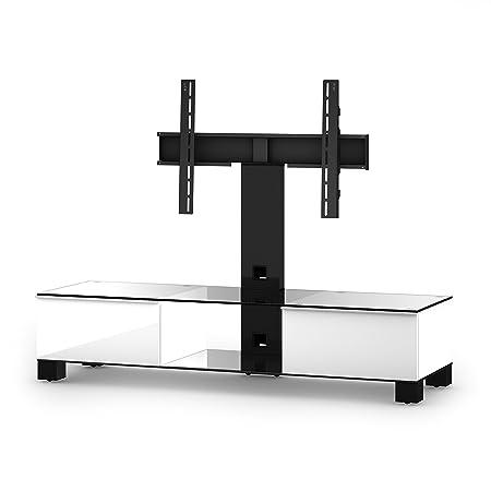 Sonorous MD 8140-C-HBLK-WHT Fernseher-Möbel mit Klarglas (Aluminium Hochglanz, Korpus Hochglanzdekor) weiß/schwarz
