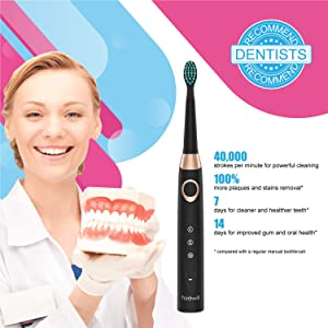 Sonic Electric Toothbrush Rechargeable for Adults - 4 Replacement Heads Orthodontic Cleaning for Braces with 2 Minutes Timer, USB Fast Charging Portable Teeth Whitening Toothbrush Black by Fairywill (Color: FW508Black)