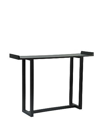 Versa Elegin - Mesa para la entrada de madera con acabados en color negro
